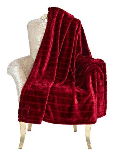 Bertte Throw Blanket Super Soft Cozy Warm Blanket 330 GSM Lightweight Luxury Fleece Blanket for Bed Couch- 102'x 90',Burgundy