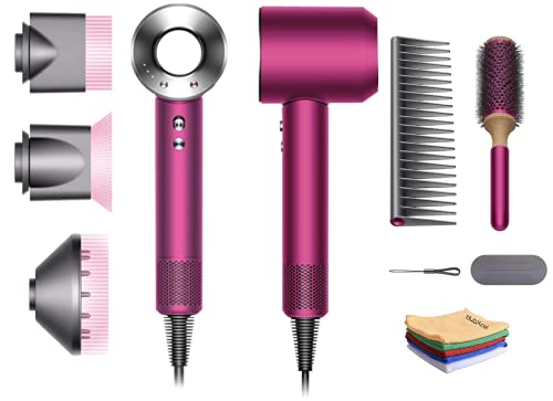 Premium Professional Dyson Supersonic Hair Dryer Limited Edition Gift Set: Fast Drying, Lightweight, Low Noise,No Extreme Heat, Engineered for Different Hair Types w/One Hubxcel Microfiber Cloth