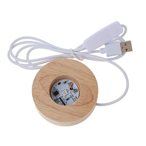 6Wcveuebuc Runde LED-Ständer aus Holz, Kunstharz, Kunst, Ausstellungs-Basis, buntes Licht, Holz-Nachtboden, Basteln