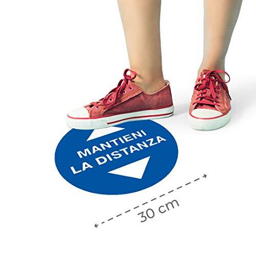 Kit Adesivi pavimento cartello distanza di sicurezza calpestabile certificato R9 antiscivolo 3/5 pezzi - distanza sociale - emergenza sanitaria - segnaletica mantieni la distanza (5, Blu)