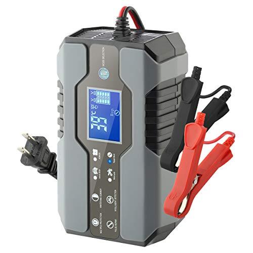 Cargador Batería Inteligente Reparación 12V 24V Reparación Pulso Mantenimiento Batería Inteligente Automotriz Pantalla LCD Táctil para Automóvil, Camión, Motocicleta, Barco, SUV, Cortacésped