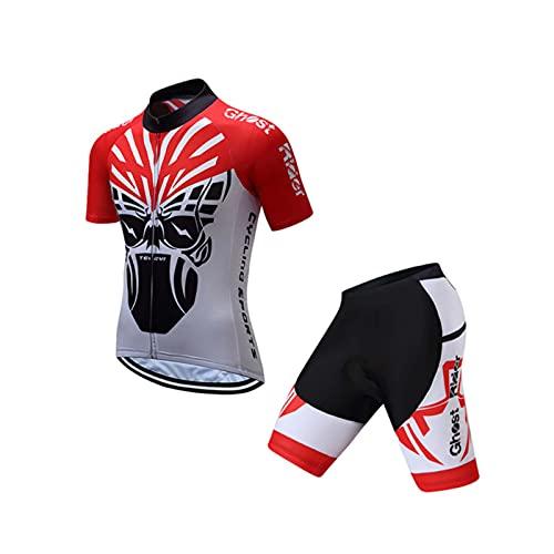 Trajes De Ciclismo para Hombres Jerseys De Ciclismo Shorts Set Mangas Cortas Jerseys De Bicicleta Pantalones Cortos De Almohadilla De Gel 3D Transpirables