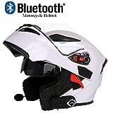 AZCX Casque de Moto Bluetooth Casque Anti-Collision Casque modulaire D. O. T Certification Flip Frontal Anti-Brouillard Double Miroir Auto réponse Bluetooth Musique (M, L, XL, XXL),B,L