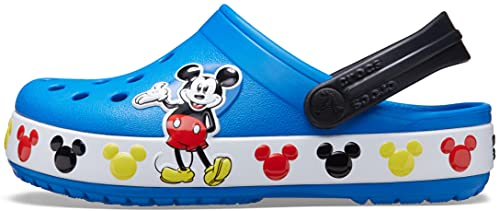 Crocs Kids' Fun Lab Disney Clog | Mickey Mouse and Minnie Mouse Shoes for Kids, Bright Cobalt, J3 US Little Kid