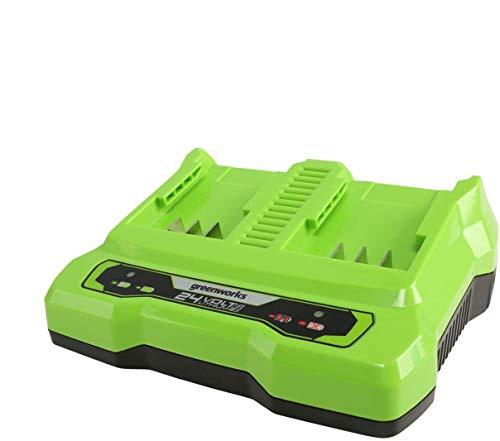 Greenworks Tools Batería de doble ranura Cargador universal G24X2C (Li-Ion 24 V 48W de salida adecuado para todas las baterías de la serie de 24 V de Greenworks)