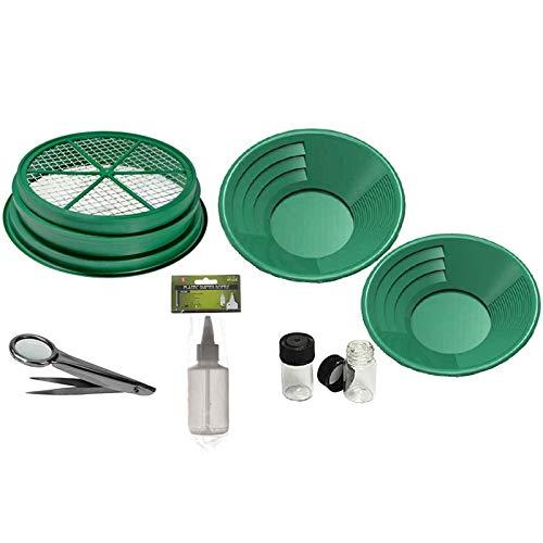 "7pc Gold Panning Kit 1/4 Mesh Classifier, 14"" & 10"" Green Gold Pans, 2 vials, Sniffer Bottle, Tweezers With Magnetfier"