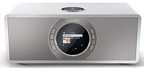 SHARP DR-I470 (WH) Stereo Internetradio/DAB (DAB+ Digitalradio, WiFi-Streaming, Bluetooth, DLNA, Farbdisplay, FM Radio, Alarm-/Schlaf und Snooze-Funktion, 30 Watt) weiß