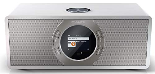 Sharp DR-I470(WH) - Radio Internet Digital Estéreo con Dab/Dab+/Fm, Bluetooth V2.1+ Edr, Función despertador y de Repetición de Alarma, Blanco