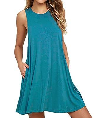 HiMONE Women's Sleeveless Pocket Casual Loose T-Shirt Dress