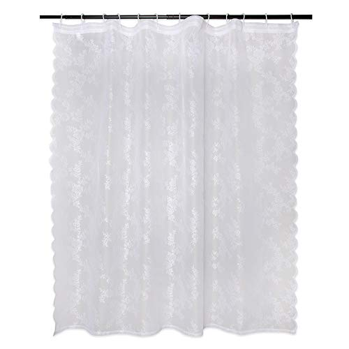 """DII Oceanique Elegant, Modern Flower Blossom Lace Design, Water & Wrinkle Resistant, 100% Polyester, Machine Washable Shower Curtain, 72x72"""", White"""