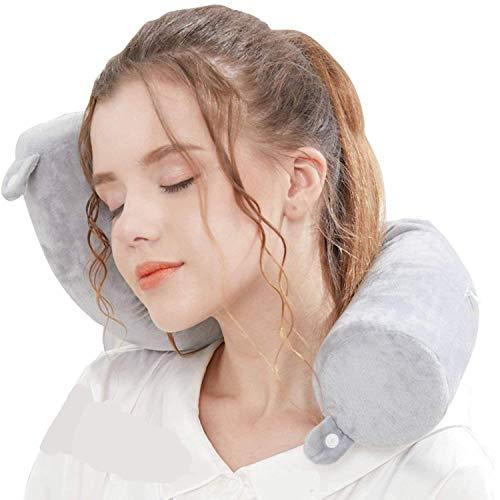 Lucear Twist Memory Foam Travel Pillow Neck, Chin, Lumbar Leg Support Traveling on Airplane, Bus,...