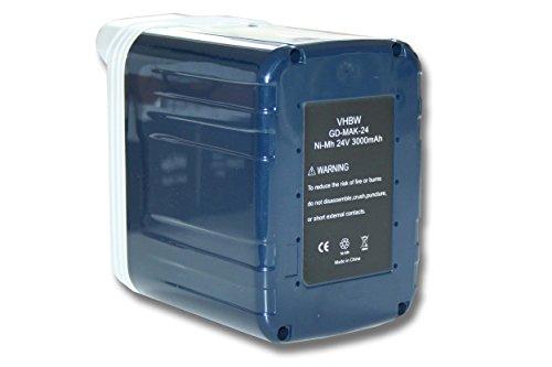 vhbw Batería NiMH 3000mAh (24V) para herramientas Makita BJR240SF, BJR240SFE, BJR240SH, BJR240SHE como 193127-4, B2417, B2420, B2430, BH2433.