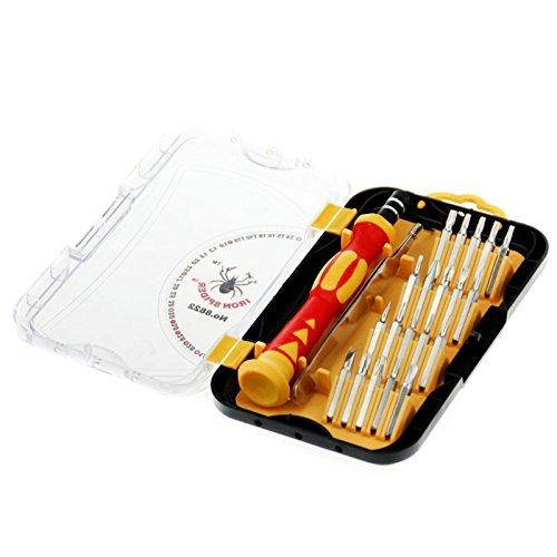 20 en 1 Kit de destornilladores de precisión con mango ergonómico y puntas intercambiables, juego profesional multiusos para reparaciones de smartphone PC electrónica gafas funda protectora incluida