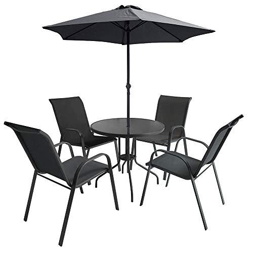 Conjunto Comedor Exterior Mesa con Sombrilla y 4 Sillas | Conjunto Modelo KOH Tao GH91 | Conjunto de Exterior de Aluminio, Acero y Textilene Color Antracita | Conjunto de Jardín, Terraza.