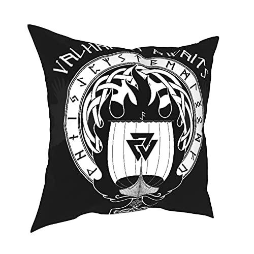 Throw Pillow Cover Case,Blue Boat Warship of The Vikings Drakkar On Fire and Norse Runes Black Warrior,Funda de Almohada Moderna Sofá Sofá Cama Coche18 'x 18' Pulgada Funda de Almohada 2 Piezas