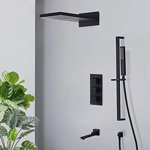 XQMY Sistema de Ducha Grifo de Ducha termostático Negro Mate Ducha Tipo Cascada de Lluvia con Barra Deslizante Mezclador termostático de 4 vías Caño Giratorio Ducha