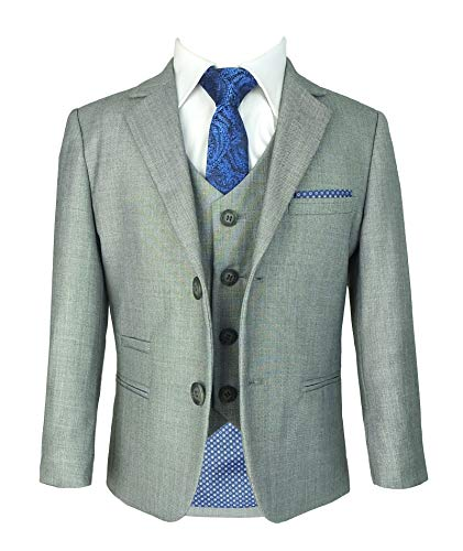 Reegan TPS32 Designer Cavani Slim Fit Hochzeitsanzug für Jungen 5 Stück Hellgrau 7 Jahre
