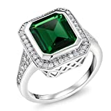 5.00 Ct Vintage Women's 925 Sterling Silver Octagon Cut Nano Emerald Ring, 6
