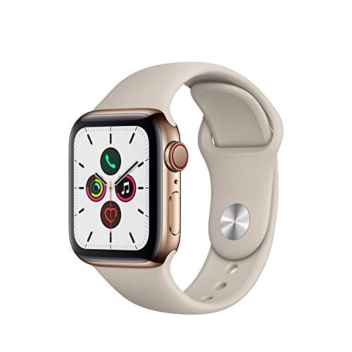 Apple Watch Series 5 (GPS + Cellular, 40 mm) Acero Inoxidable en Oro - Correa Deportiva piedra