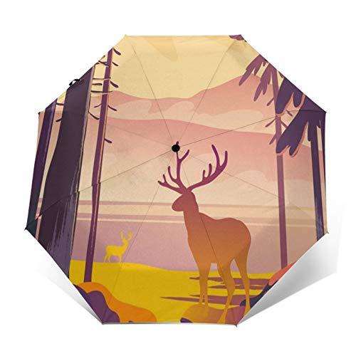 Paraguas automático de triple pliegue 3D con impresión exterior de ciervo en el atardecer, protector solar impermeable resistente al viento, paraguas plegable para hombre y mujer al aire libre