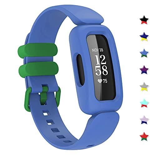 TopPerfekt Armbänder kompatibel mit Fitbit Ace 3 für Kinder, weiches Silikon, wasserdichtes Armband, Zubehör, Sport-Uhrenarmband, Ersatz für Fitbit Inspire 2/Ace 3 Jungen Mädchen (Kornblumenblau/Grün)