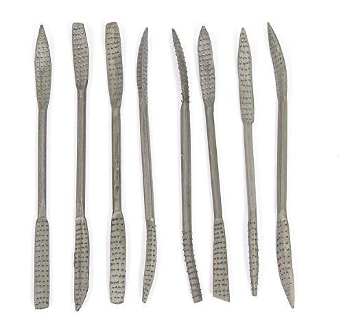 Honsell 79224 - Speckstein Raspelset mit 8 Riffelraspeln, je 20 cm lang, 8 Werkzeuge mit je 2 unterschiedlichen Raspeln zum Bearbeiten von Speckstein