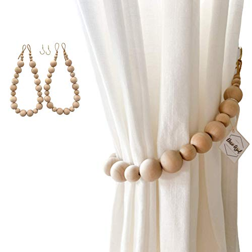 Deco Azul Curtain tiebacks│ Set of 2 Curtain holdbacks │Boho Curtain tie Backs, Farmhouse Curtain Holders for Drapes, Natural Wood Bead Curtain Ties │Brass Hooks Included