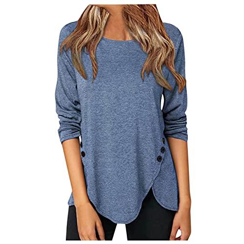 XUJY Camiseta de manga larga para mujer, sencilla y cómoda, cuello redondo, monocolor, camiseta de manga larga, tops, suelta, túnica, botón lateral superior, azul, XL