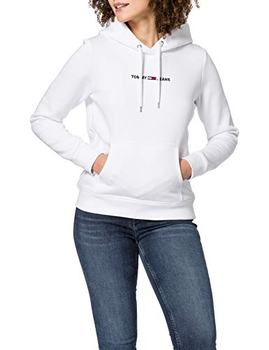 Tommy Jeans TJW Linear Logo Hoodie Suter, Blanco, XS para Mujer