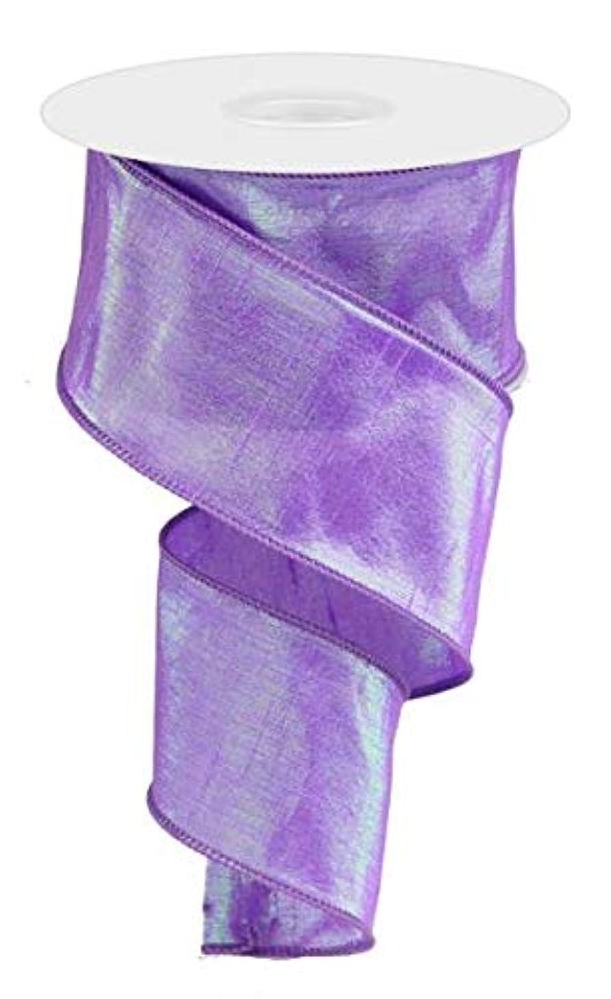 Iridescent Dupioni Wired Edge Ribbon, 10 Yards (Purple, 2.5