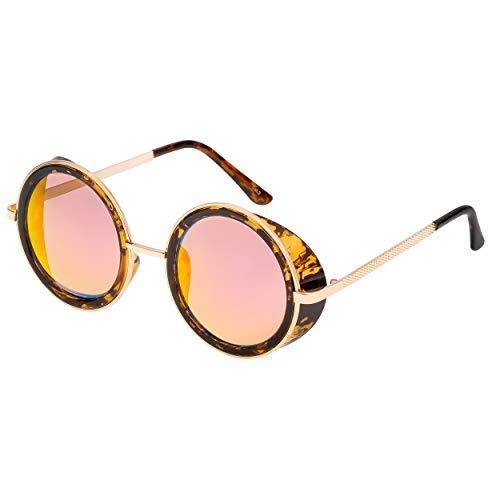 Marco Ultra negro con morado lentes gafas de sol Steampunk 50s ronda gafas con protección UV400 disponible en oro plata marrón azul espejado leopardo y té cobre Cyber gafas Goth Vintage Rave