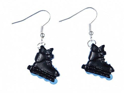 Miniblings Inlineskates Ohrringe Rollerskates Skates Rollschuhe Skater schw blau - Handmade Modeschmuck I Ohrhänger Ohrschmuck versilbert