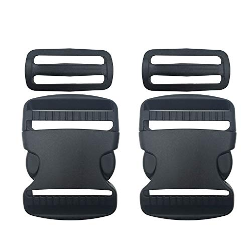 2 Set 50mm 2inch Buckles Clips and Tri-Glide Slides, Flat Side Release Buckles - Heavy Duty Replacement Buckles Clip for Backpack Repairing, Luggage Fastening Strap, Pet Collar Making and More