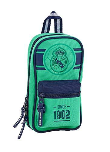 Safta 412057747 Plumier mochila 4 estuches llenos, 33 piezas, escolar Real Madrid CF, Verde (RM 19/20)