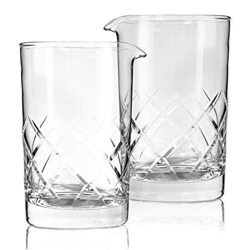 Set of 2 Cocktail Mixing Glass - Thick Weighted Bottom - Large 24oz 700ml