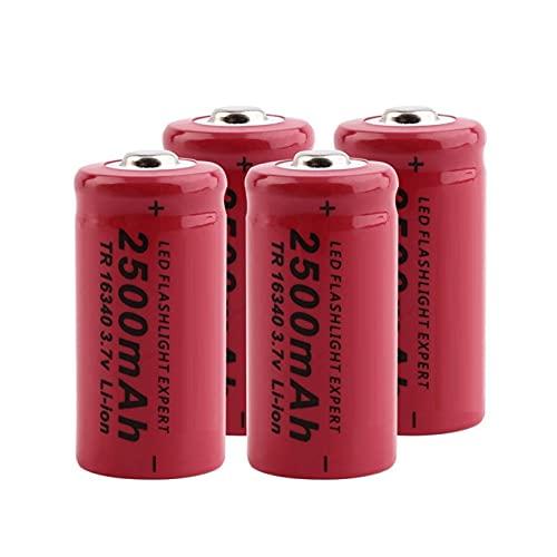 TTCPUYSA Batería De ión De Litio De 3.7v 2500mah 16340, Recargable para Vl123a Dl123a 5018lc Cr123a Cr17345 K123a 4pcs