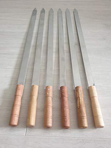 JD Europe Schaschlikspieße mit Holzgriffen, Edelstahl, flach, Breite 57,5 cm, Breite 2 cm, Dicke 2 mm, 6 Stück