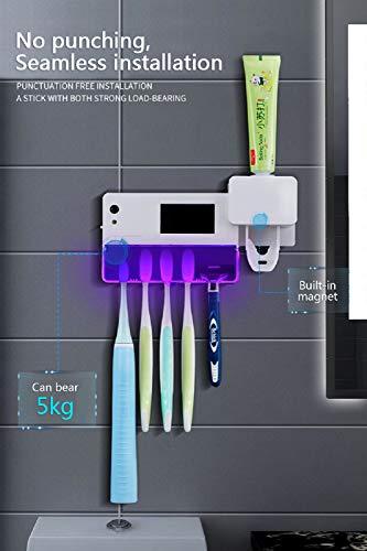 YICANG UV-Zahnbürstenhalter, Zahnpastaspender, automatischer Zahnbürsten-Sterilisatorhalter mit Aufkleber
