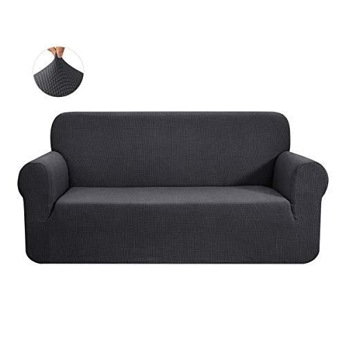 CHUN YI 1-Stück Sofa Überwürfe Sofabezug Jacquard Elastische Stretch Spandex Couchbezug Sofahusse Sofa Abdeckung (Grau, 3-sitzer)