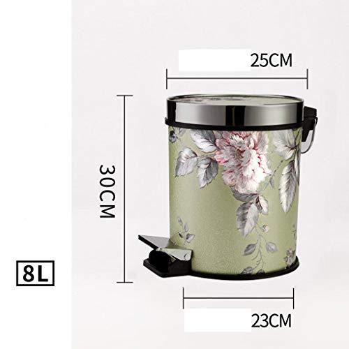 Rubbish Bin Poubelle Vuilnisbak Lederen PP Materiaal Bloemenpatroon Creatief Met Cover Pedaal Thuis Keuken Kast Woonkamer Badkamer Rollsnowow (grootte: 8L)