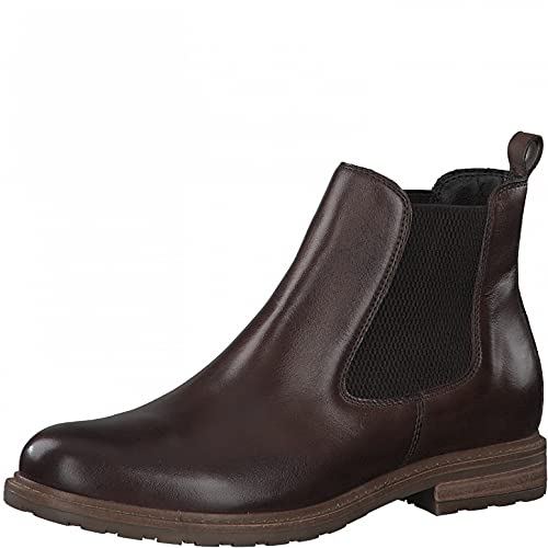 Tamaris Damen Stiefeletten, Frauen Chelsea Boots,uebergangsschuhe,uebergangsstiefel,Schlupfstiefel,flach,Boots,Stiefel,Muscat Leather,40 EU / 6.5 UK