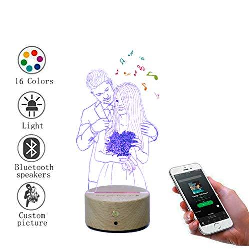 Personalisierte foto 3d kristall lampe nachtlicht mit bluetooth lautsprecher 16 farbwechsel, led tischlampe musik player für weihnachtsgeschenke