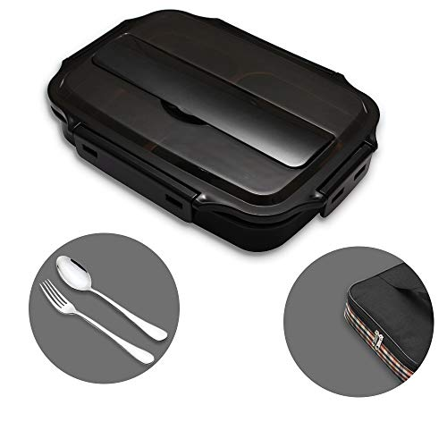 mreechan lunchbox voor kinderen met 3 vakken van de lunchbox, bakje met lepel en vork, met isolatie, verwarmbaar in de magnetron, geschikt voor school, picknick, reizen (Zwart)