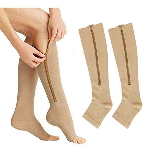GXSox 3 Pares Mujeres Medias presión de compresión de Venas varicosas Unisex Rodilla Estiramiento de la Pierna Que almacena el Alivio del Dolor de Nylon diseño Abierto del Dedo del pie