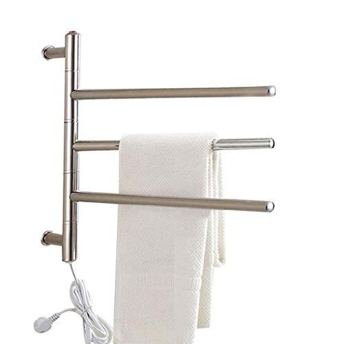 YUDIZWS Toallero Eléctrico Bajo Consumo Radiador De Toallero Eléctrico Montado En La Pared Towel Warmer Giratorio Montado De Acero Inoxidable
