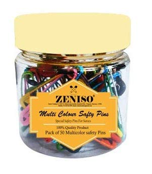 ZT Standard Multicolor Safety Pins Pack of 50 for Saree, Dupatta Attaching Pins for Women and Girls, Rust Proof, Pack in Plastic Jar