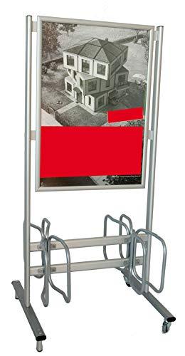 DISPLAY SALES EINDRUCKSVOLL. WERBEN Fahrradständer Werbe-Fahrradständer mit Rollen, 4 Stellplätze für Fahrräder, DIN A1 Werbefläche für Plakate