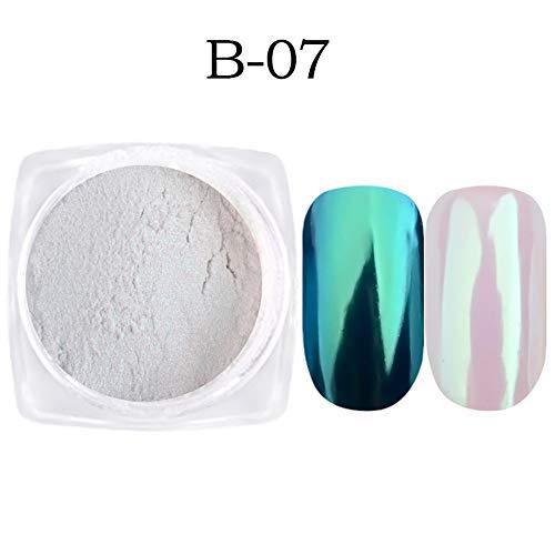 Juego de 7 cajas de esmalte de uñas con purpurina y efecto espejo, para decoración de manicura … (B-07)