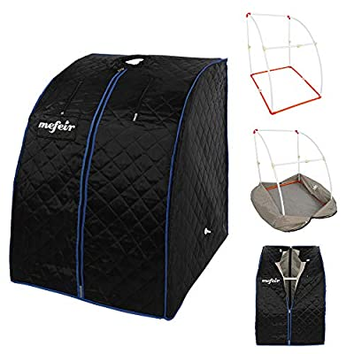 mefeir 2L Steam Sauna Portable Home Spa, Full Body Slimming Loss Weight, Healthy Detox Therapy One Person, w/Enlarged Folding Chair,Black