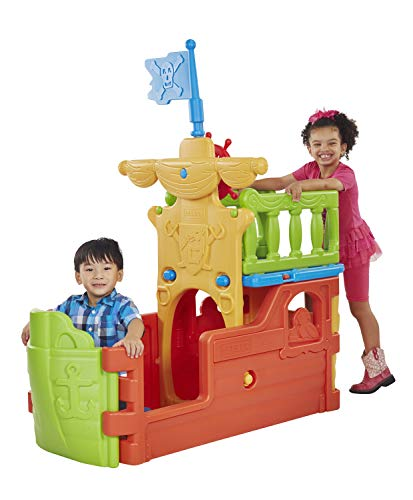 Image of the ECR4Kids Indoor/Outdoor Buccaneer Boat with Pirate Flag Play Structure for Kids